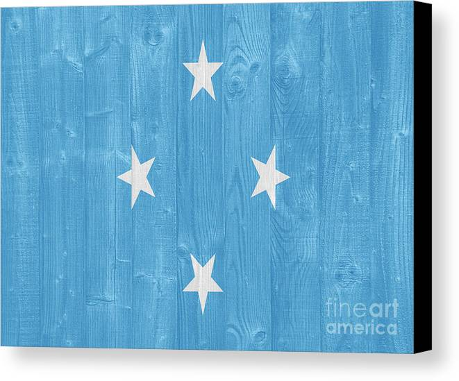 Micronesia Canvas Print featuring the photograph Micronesia Flag by Luis Alvarenga