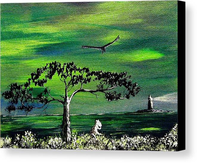 Decotarive Canvas Print featuring the painting Moomintroll And Lighthouse by Anastasiya Malakhova