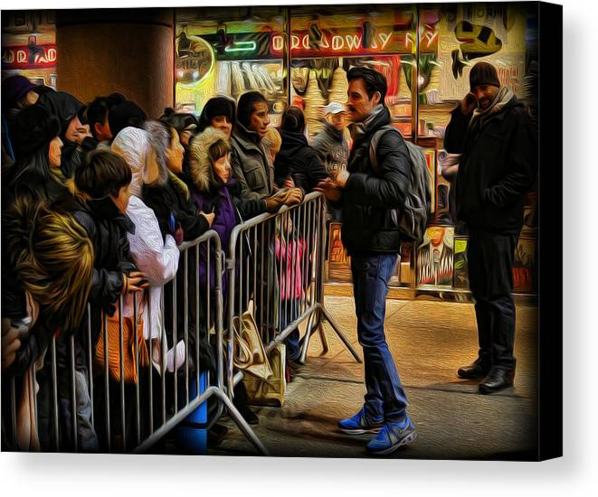 The Artist Canvas Print featuring the photograph Movie Stars - The Artist Signing Autographs by Lee Dos Santos