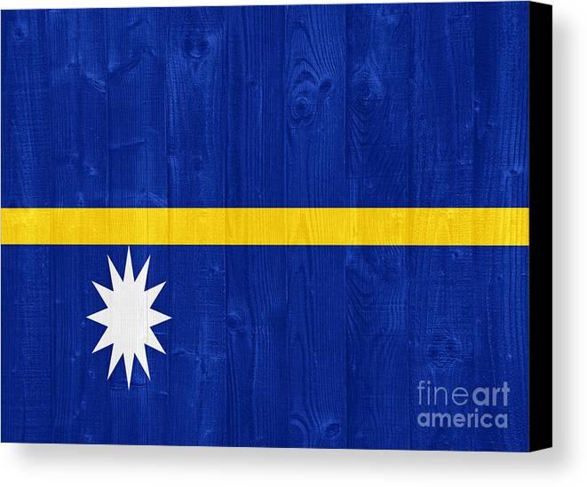 Nauru Canvas Print featuring the photograph Nauru Flag by Luis Alvarenga