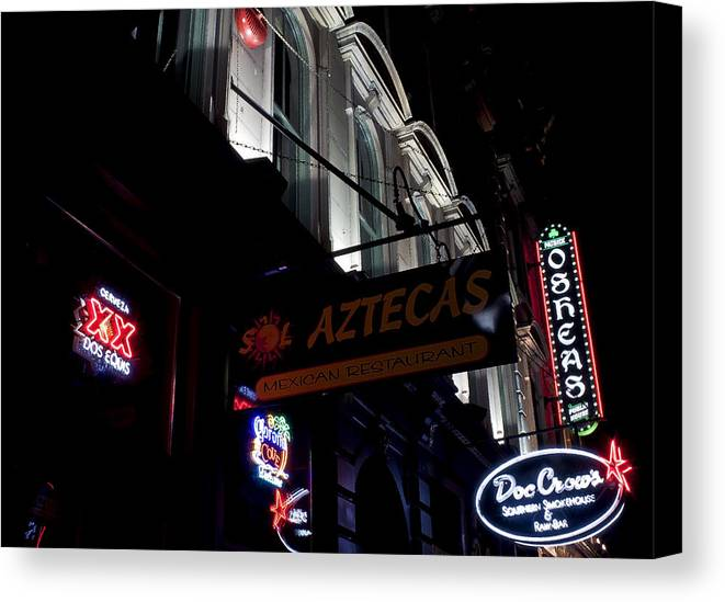 Neon Canvas Print featuring the photograph Neon On Main by Chas Andrews