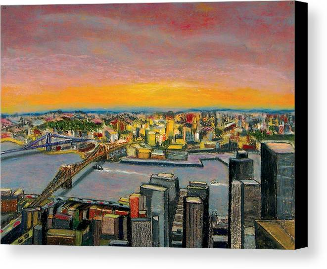 Cityscape Canvas Print featuring the painting New York 38 by Karin Batten