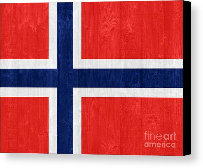 Norway Canvas Print featuring the photograph Norway Flag by Luis Alvarenga