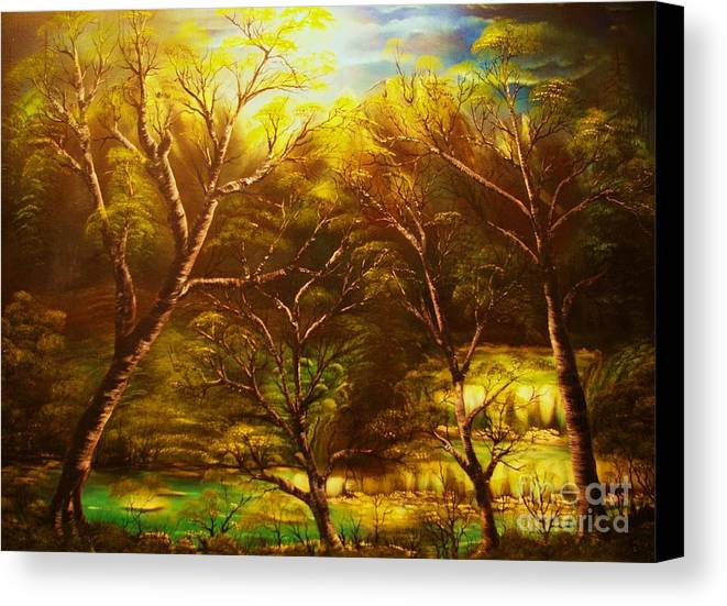 Landscape Canvas Print featuring the painting Norwegian Night-original Sold- Buy Giclee Print Nr 36 Of Limited Edition Of 40 Prints by Eddie Michael Beck