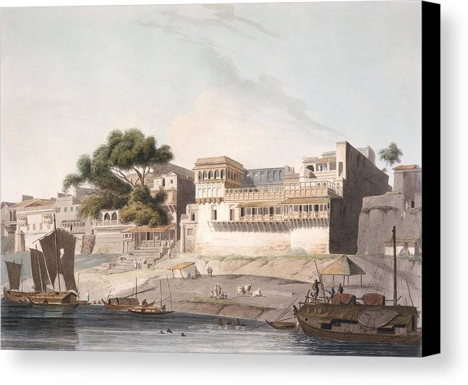 Architecture Canvas Print featuring the drawing Part Of The City Of Patna, On The River by Thomas Daniell