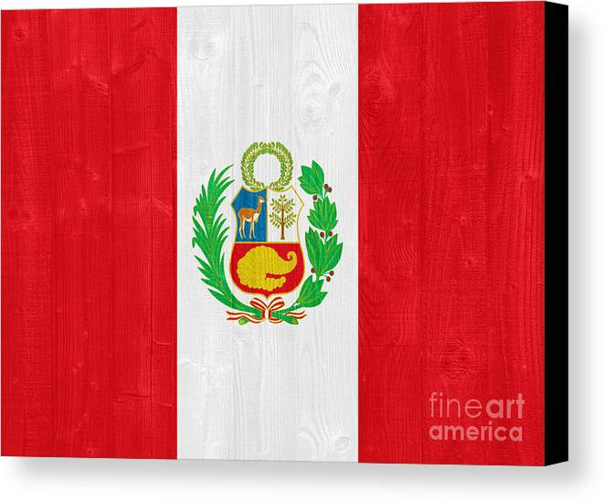 Peru Canvas Print featuring the photograph Peru Flag by Luis Alvarenga