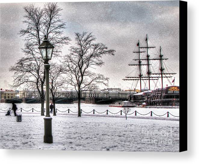 Peterburg Canvas Print featuring the pyrography Peterburg Winter by Yury Bashkin