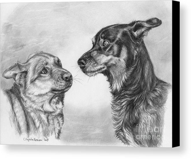 Dog Canvas Print featuring the drawing Playing Dog's Emotions by Svetlana Ledneva-Schukina