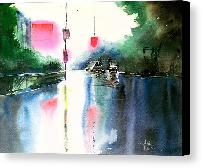 Nature Canvas Print featuring the painting Rainy Day New by Anil Nene