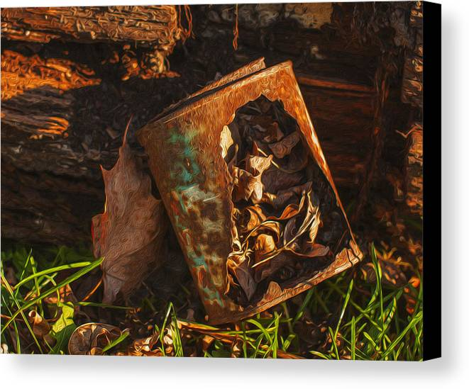 Landscape Canvas Print featuring the painting Rusted Can Of Leaves by Jack Zulli