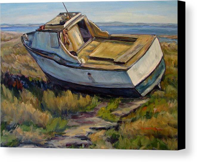 Boat Canvas Print featuring the painting Sailing Days Over by Robert Gerdes