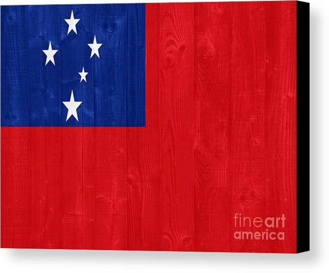 Samoa Canvas Print featuring the photograph Samoa Flag by Luis Alvarenga