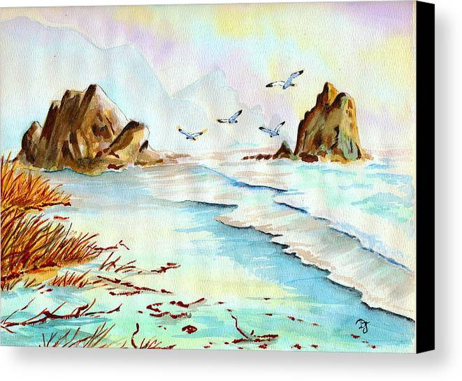 Watercolor Canvas Print featuring the painting Sea Shore Impressions by Dale Jackson