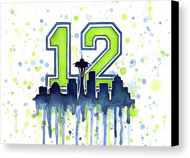 Seattle Canvas Print featuring the painting Seattle Seahawks 12th Man Art by Olga Shvartsur