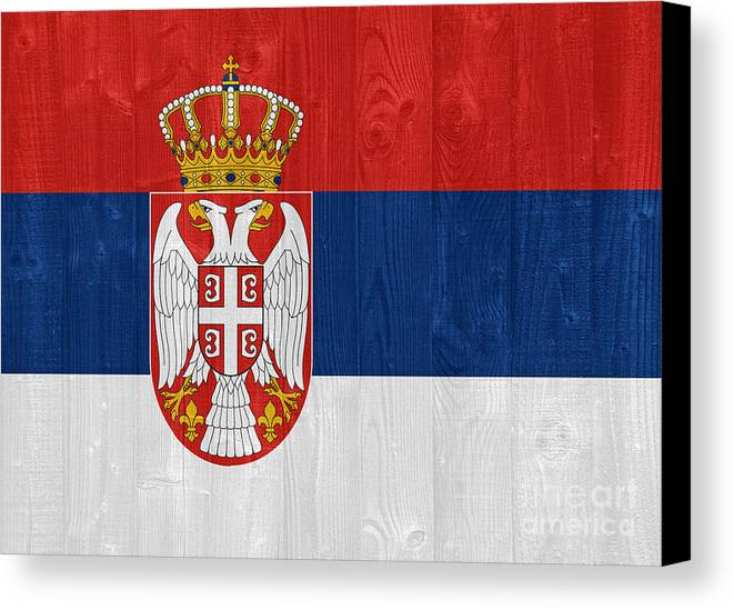 Serbia Canvas Print featuring the photograph Serbia Flag by Luis Alvarenga