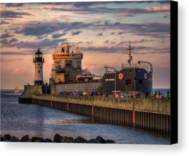 Duluth Canvas Print featuring the photograph Ship Ahoy by Mary Amerman
