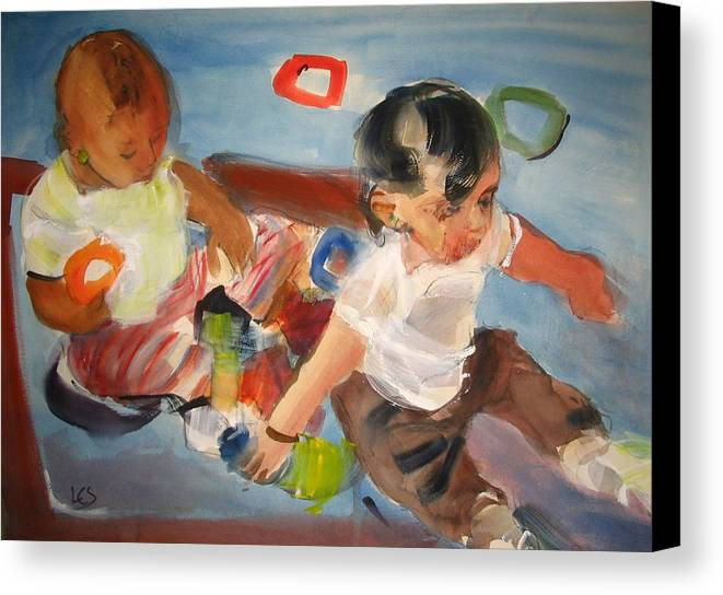 Children Canvas Print featuring the painting Side By Side by Linda Solomon