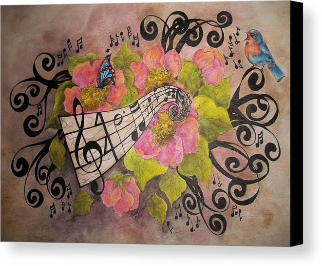 Music Canvas Print featuring the painting Song Of My Heart And Soul by Meldra Driscoll