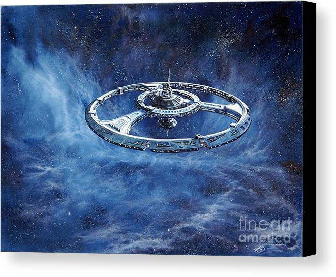 Sci-fi Canvas Print featuring the painting Deep Space Eight Station Of The Future by Murphy Elliott