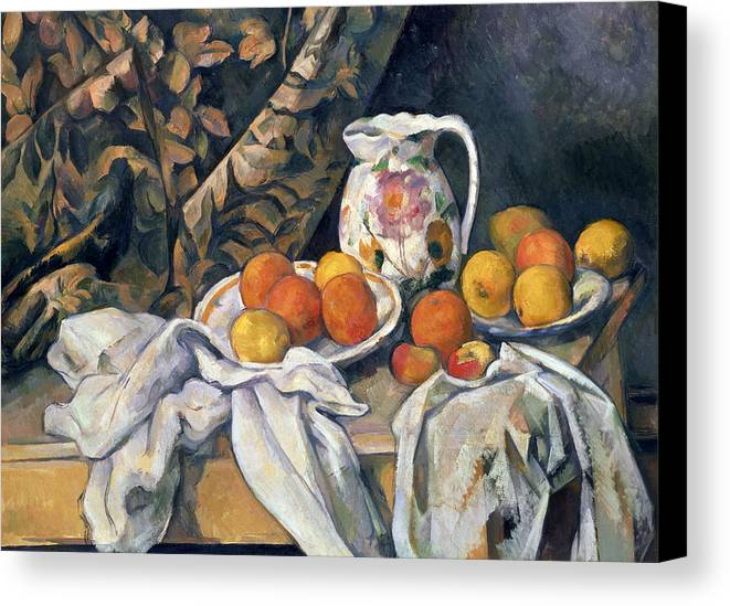 Post-impressionist Canvas Print featuring the painting Still Life With Drapery by Paul Cezanne