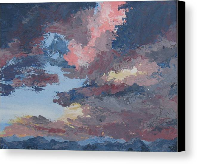 Stormy Sky Canvas Print featuring the painting Storm A Brewin by Janis Mock-Jones