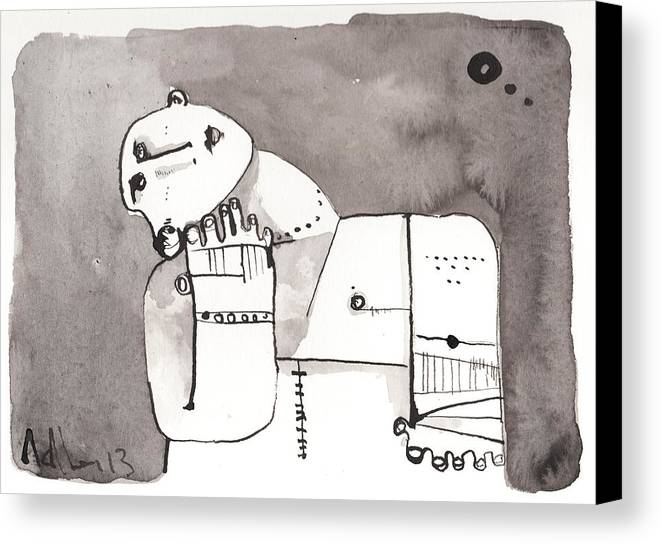 Ink Canvas Print featuring the drawing Sub Lunam No. 4 by Mark M Mellon