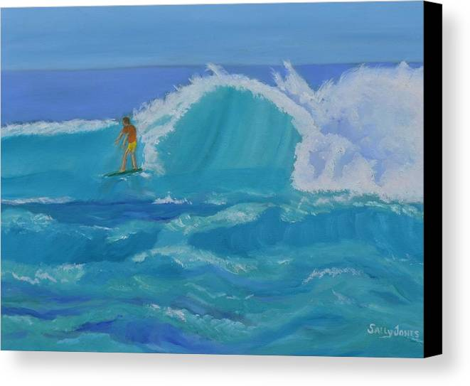 Surfer Canvas Print featuring the painting Surfing Big Waves On The North Shore Of Oahu by Sally Jones