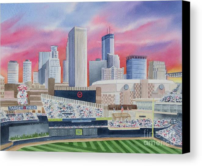 Target Field Canvas Print featuring the painting Target Field by Deborah Ronglien