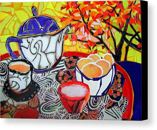 Mixed Media Expressionist Painting Canvas Print featuring the mixed media Tea And Eggs by Diane Fine