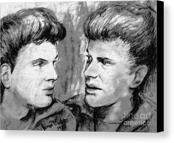 The Everly Brothers Canvas Print featuring the mixed media The Everlys In Monochrome by Joan-Violet Stretch