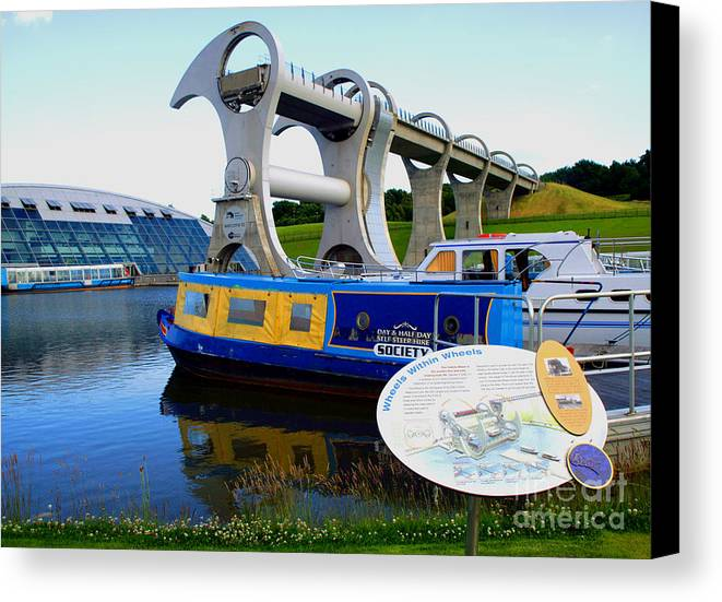 Canals Canvas Print featuring the photograph The Falkirk Wheel by David Cairns