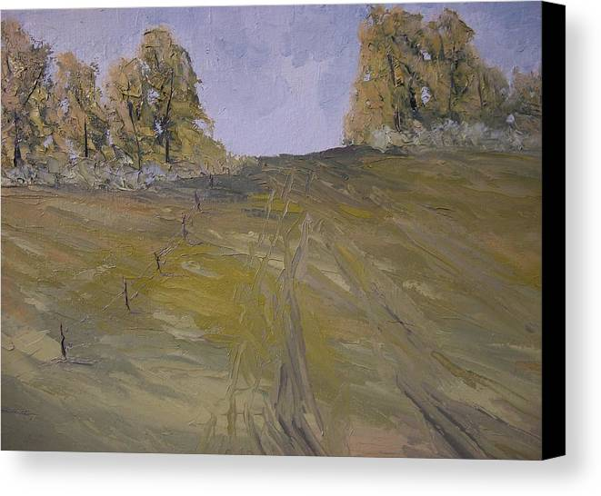 Oil Canvas Print featuring the painting The Fence Row by Dwayne Gresham