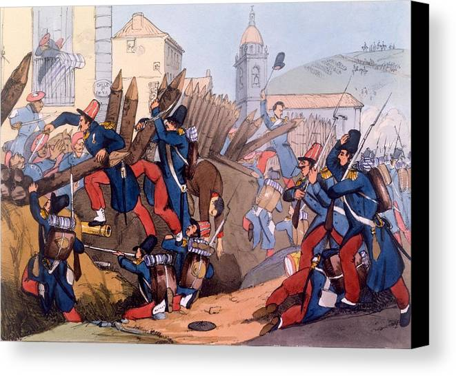 French Legion Storming A Carlist Entrenchment Canvas Print featuring the drawing The French Legion Storming A Carlist by English School