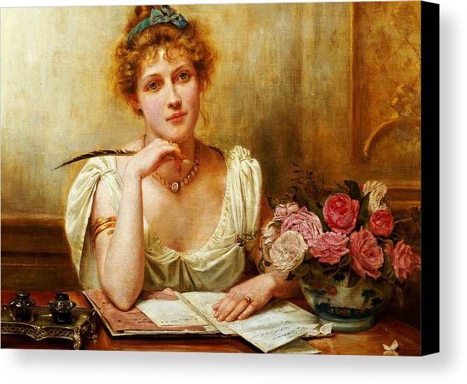 Letter; Writing; Love; Thinking; Female; Seated; Desk; Half Length; Feather; Quill; Ink; Inkwell; Roses; 19th; 20th Canvas Print featuring the painting The Letter by George Goodwin Kilburne