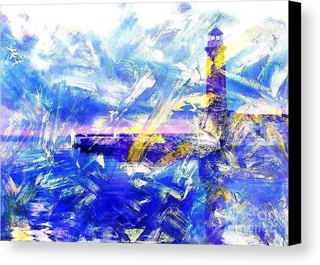Turbulent Water Canvas Print featuring the painting The Lighthouse Through Turbulent Waters by PainterArtist FIN