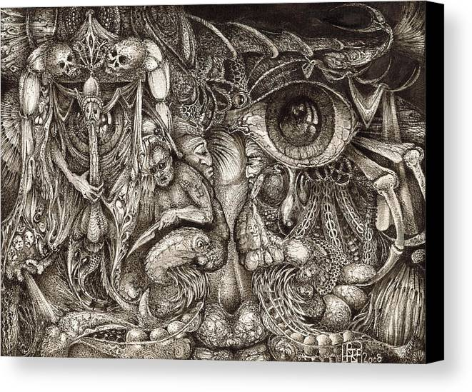 Surreal Canvas Print featuring the drawing Tripping Through Bogomils Mind by Otto Rapp