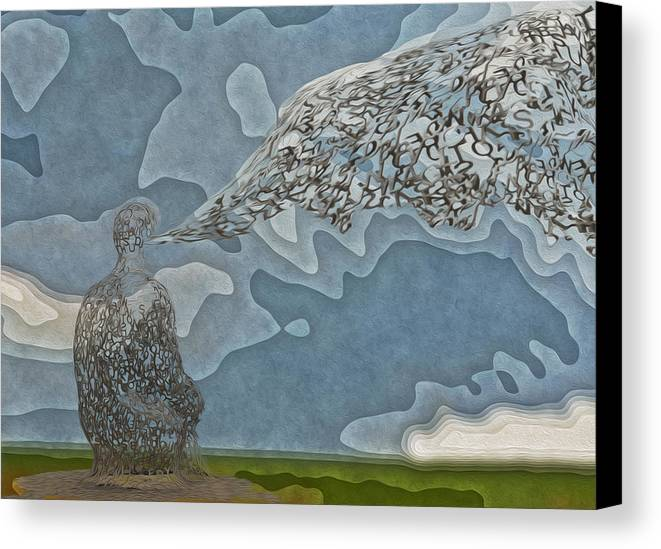 Abstract Canvas Print featuring the painting Trying To Find The Right Words by Jack Zulli