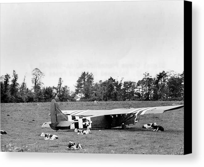 History Canvas Print featuring the photograph U. S. Air Force Glider That Landed by Everett