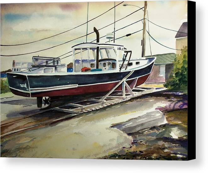Perkins Cove Canvas Print featuring the painting Up For Repairs In Perkins Cove by Scott Nelson