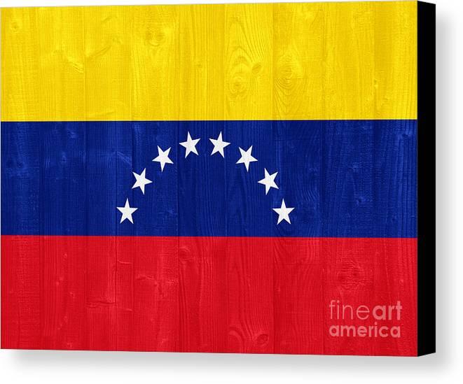 Venezuela Canvas Print featuring the photograph Venezuela Flag by Luis Alvarenga