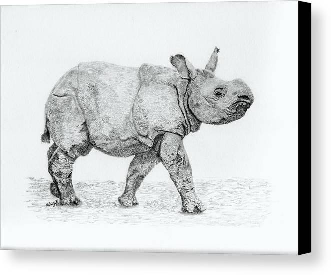 Baby Rhino Canvas Print featuring the drawing Wait Up Mom by Wendy Brunell