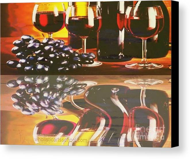 Wine Canvas Print featuring the painting Wine Reflections by PainterArtist FIN