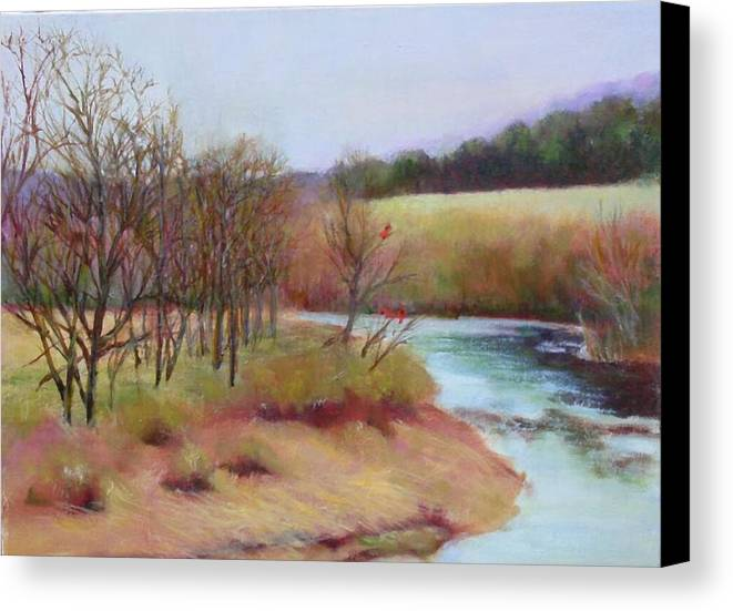 Landscape Canvas Print featuring the painting Winter Creek         Copyrighted by Kathleen Hoekstra