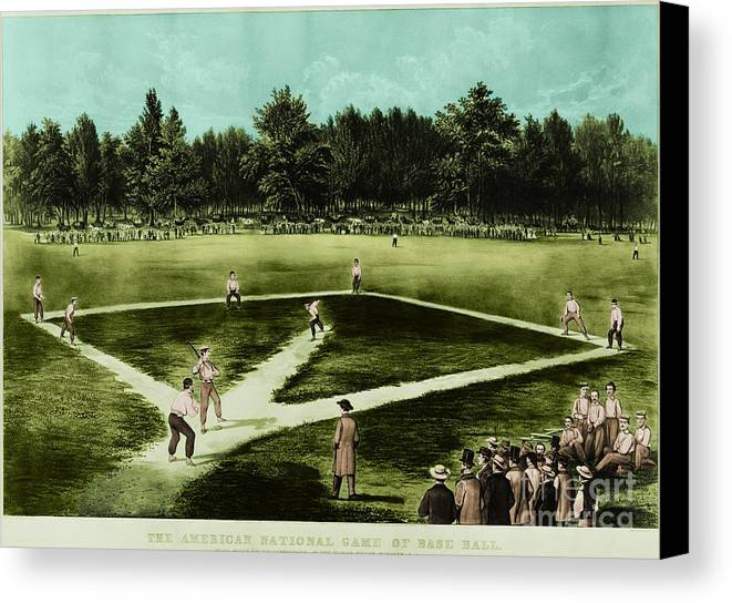 Baseball Canvas Print featuring the photograph Baseball In 1846 by Omikron