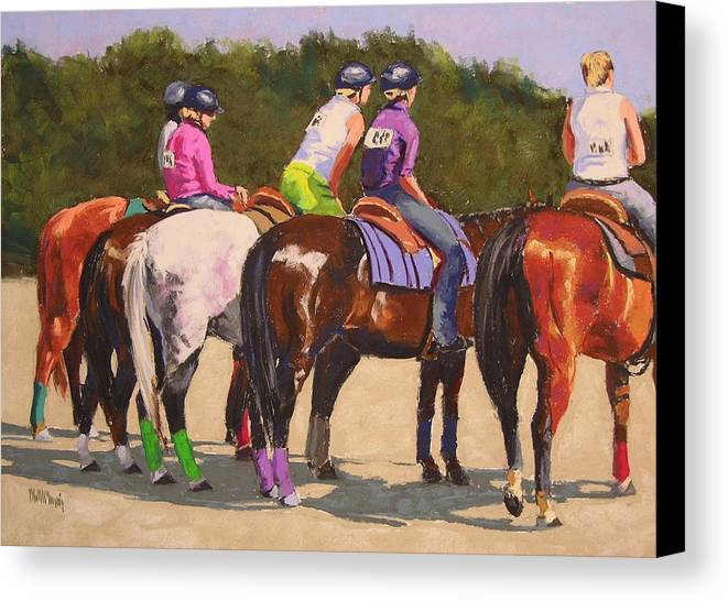 Horses Canvas Print featuring the pastel Fair On Deck by Mary McInnis
