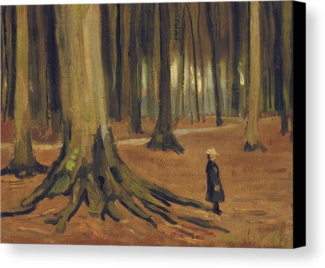 Vincent Van Gogh Canvas Print featuring the painting A Girl In A Wood by Vincent van Gogh