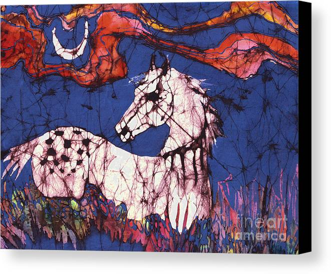 Batik Canvas Print featuring the tapestry - textile Appaloosa In Flower Field by Carol Law Conklin