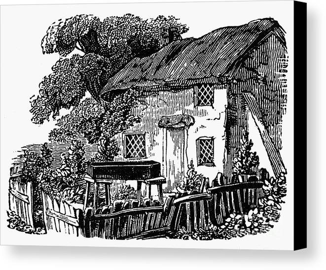 19th Century Canvas Print featuring the photograph Bewick: Rural House by Granger