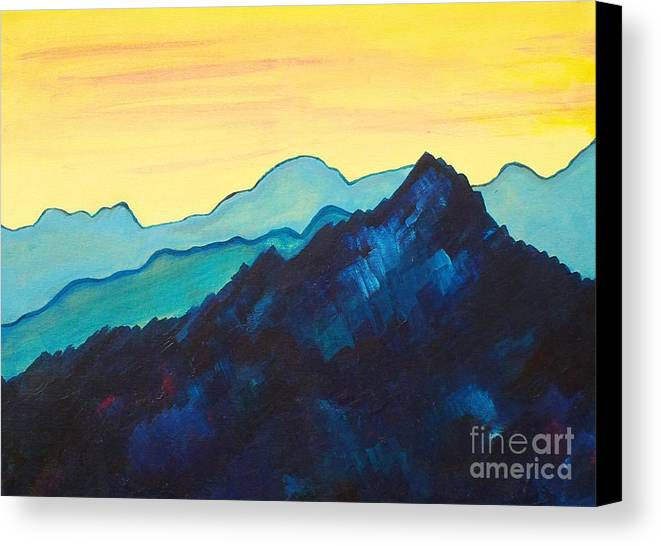 Landscape Canvas Print featuring the painting Blue Mountain II by Silvie Kendall