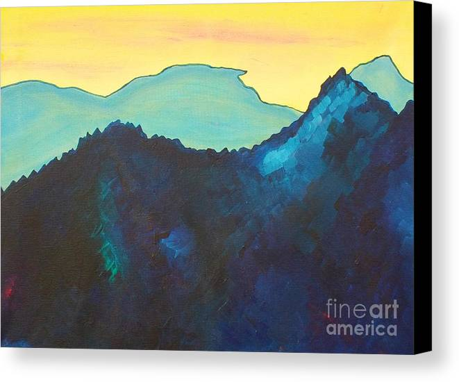 Landscape Canvas Print featuring the painting Blue Mountain by Silvie Kendall
